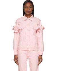 J Brand x Simone Rocha Pink Oversized Ruffled Denim Jacket - Lyst