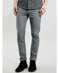 Topman Light Grey Salt And Pepper Stretch Skinny Chinos - Lyst