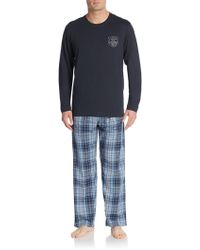 Lucky Brand - Cotton Long Sleeve Tee & Pyjama Trousers - Lyst