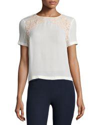 Tory Burch | Short-sleeve Lace-trim Tee | Lyst