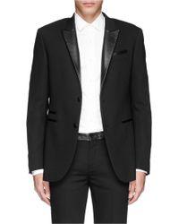 Neil Barrett Peaked Leather Lapel Tuxedo Blazer - Lyst