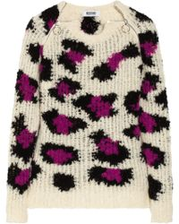 Moschino Cheap & Chic Leopard-patterned Open-knit Sweater - Lyst