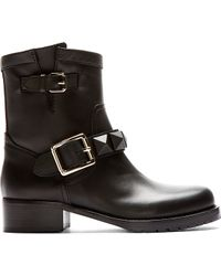 Valentino Black Leather Covered_stud Biker Boots - Lyst