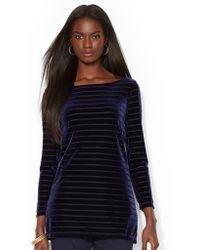 Lauren by Ralph Lauren Petite Striped Velvet Shirt - Lyst