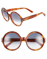Tom Ford Women'S 'Juliet' 55Mm Round Optical Glasses - Havana/ Gradient Turquoise (Online Only) - Lyst