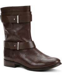 Ann Taylor Brycen Leather Buckle Boots - Lyst