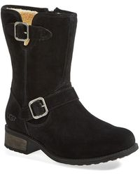 Ugg 'Chaney' Water Resistant Suede Moto Boot - Lyst