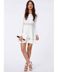 Missguided Patsy Mesh Panel Skater Dress White - Lyst