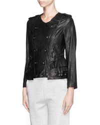 3.1 Phillip Lim Ruffle Trim Lamb Leather Jacket - Lyst