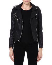 Maje Madone Leather Moto Jacket - Lyst