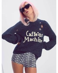 Wildfox | Caffeine Machine Misty Sweater In Dirty Black | Lyst