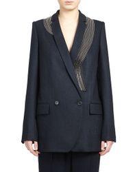Stella McCartney Zipper-Detail Wool Suiting Blazer - Lyst