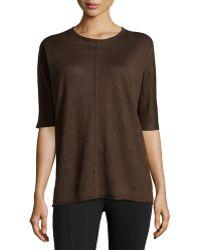 Lafayette 148 New York Rolled-Trim Linen Sweater - Lyst