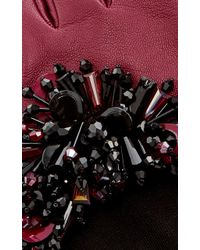Oscar de la Renta - Bordeaux Paillette-embroidered Gloves - Lyst