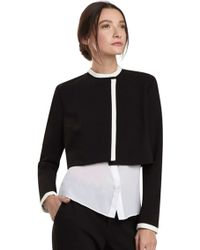 Alice + Olivia Mock Neck Cropped Jacket black - Lyst