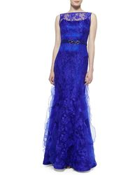 Rickie Freeman for Teri Jon Sleeveless Lace Overlay Mermaid Gown - Lyst