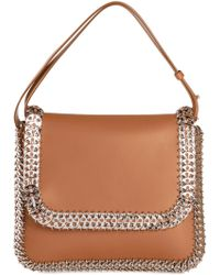 Paco Rabanne Chainmail-Trimmed Leather Shoulder Bag - Lyst
