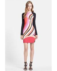 Emilio Pucci Onyx Print Long Sleeve Cady Dress red - Lyst