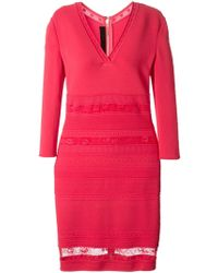 Elie Saab Lace Detail Fitted Knit Dress pink - Lyst