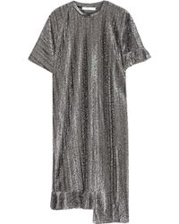 Julien David Metallic Dress With Asymmetric Hem - Lyst