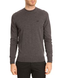 Lacoste Lambswool Dark Grey Sweater with Toneontone Crocodile Logo - Lyst