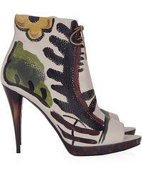 Burberry Jenkin Peeptoe Ankle Boot - Lyst