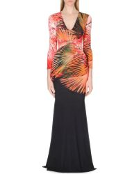 Roberto Cavalli Tropical-Print Jersey Gown - For Women - Lyst