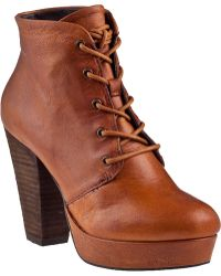 Steve Madden Raspy Platform Boot Cognac Leather brown - Lyst