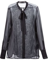 Valentino Lace Panel Bow Front Blouse - Lyst