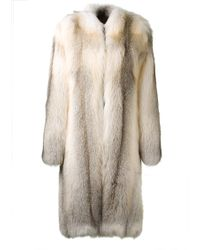 Christopher Kane Long Silver Fox Fur Coat - Lyst