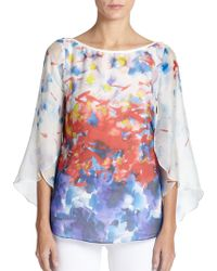 Milly Silk Watercolor Print Blouse - Lyst