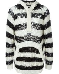 Saint Laurent | Striped Hooded Sweater | Lyst
