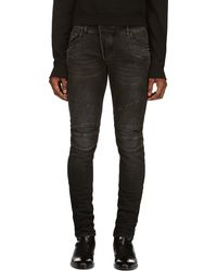 Pierre Balmain Black Faded and Distressed Slim Jeans - Lyst