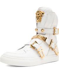 Versace Tri Buckle Medusa Head Leather Sneakers - Lyst