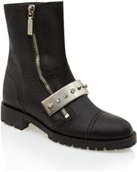 Alexander McQueen Black Metal Bar Leather Biker Boots - Lyst