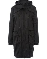 Calvin Klein Oak Long Coat with Hood in Meteorite - Lyst