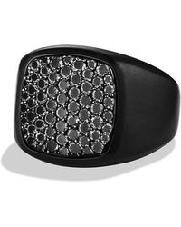 David Yurman Pavé Signet Ring with Black Diamonds and Black Titanium - Lyst
