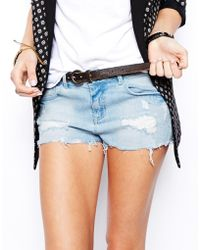 Asos Low Rise Short in Light Wash - Lyst
