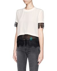 Sandro Sheer Lace Underlay Top - Lyst