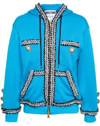 Moschino Hooded Sweatshirt With Bouclé Trim - Lyst