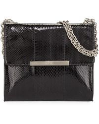 Badgley Mischka Justine Snakeembossed Leather Shoulder Bag - Lyst