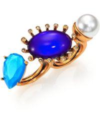 Oscar de la Renta Starburst Cabochon, Faux Pearl & Pear-Cut Double-Finger Ring - Lyst