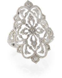 Poiray - 18K White Gold Filigree Ring W/ Diamonds - Lyst