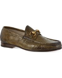 Gucci Roos Crocodile Loafers Green - Lyst