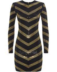 Balmain Studded Long Sleeve Mini Dress - Lyst
