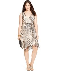 Lauren by Ralph Lauren Plus Size Zebra-Print Wrap Dress - Lyst