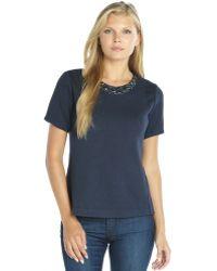 Rebecca Taylor Navy Ponte Knit Short Sleeve Embellished Top - Lyst