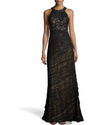 Sue Wong Sequined Shirred Halter Gown - Lyst