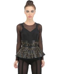 Murmur Chained Leather Peplum Belt - Lyst
