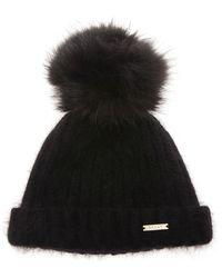 Bally | Black Beanie Hat With Fur Pom Pom | Lyst